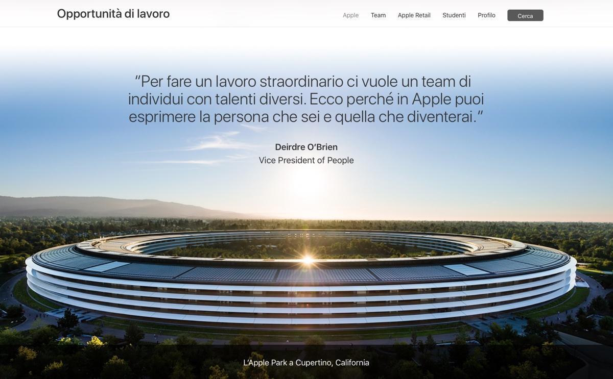 Apple ha aggiornato la sezione del sito web dedicata alla ricerca di personale