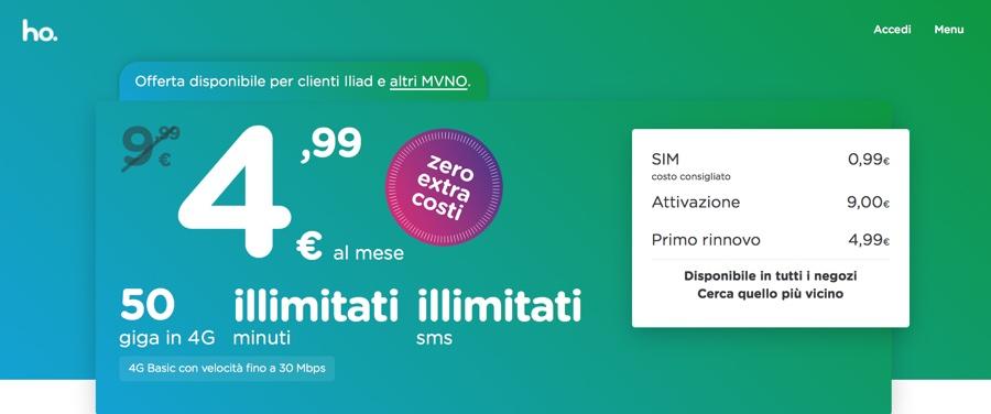 Ho contro iliad - foto arriva la super offerta da 50GB a 4,99 euro al mese