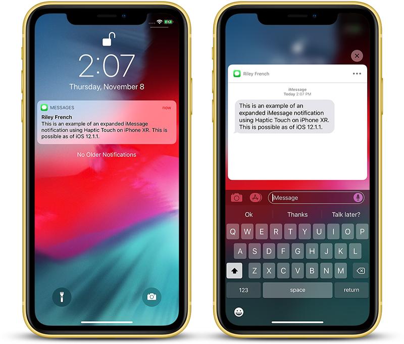 L'Haptic Touch di iPhone XR funziona ora con le notifiche