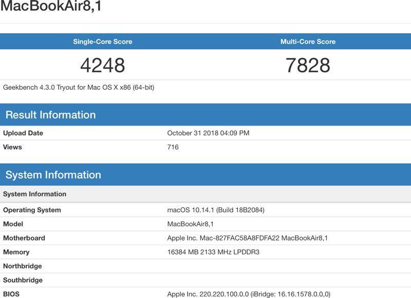Ecco i primi benchmark del MacBook Air 2018