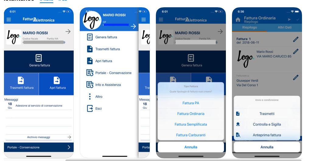 L'app fatturAE per iPhone