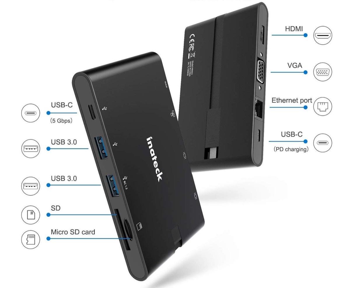 Hub USB-C con cavo estraibile, 9 funzioni in 1: sconto a 34,83 euro