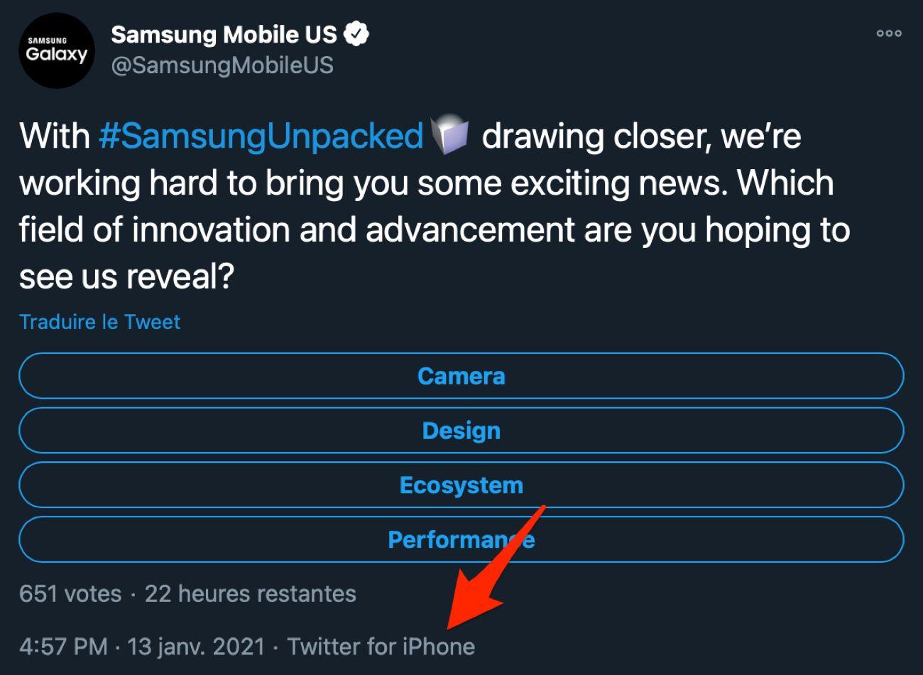 Samsung ha twittato da un iPhone l'evento di lancio del Galaxy S21