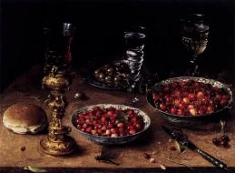 Still Life With Cherries And Strawberries In China Bowls by Osias Beert