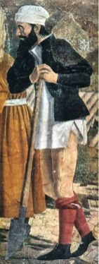 1400's workingman in unlaced hose rolled to the knees. Wearing undergarment, a chemise. c 1455
