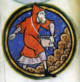 Peasant sewing. He is wearing an cowl (outer garment with a hood) over a long tunic. He has a beard and is caring a wicker bag full of grain, c. 1201-1225