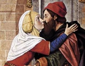 Man with red hat and woman with veil and wimple. c. 1488