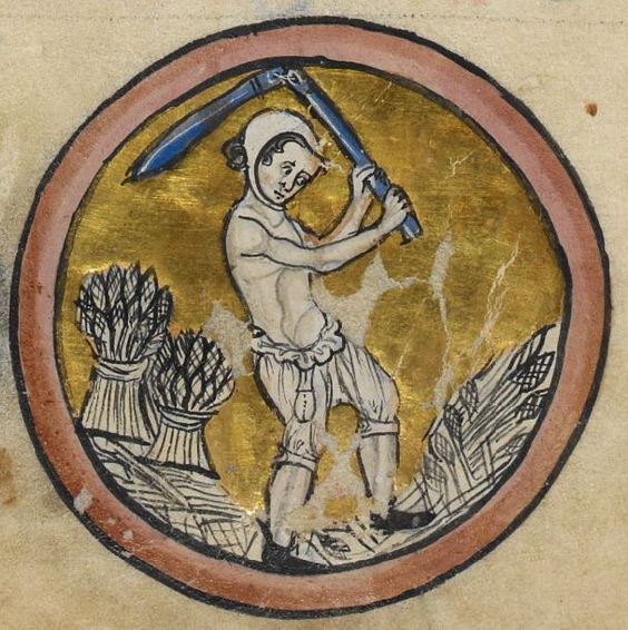 A peasant working the feild in his braies, coif and shoes. c. 1260