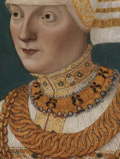 Neckline detail, early to mid 1500's