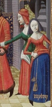 Two woman wearing kirtles with surcotes over. Both have pulled up their surcotes to show off their kirtles of a different color. The kirtles have white coffs.