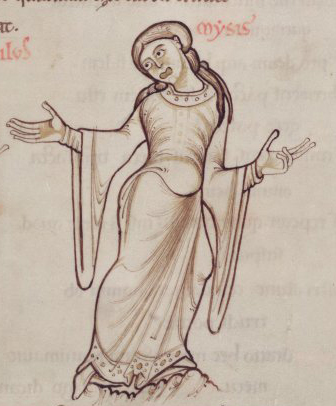 Woman both wearing a bliaut with a tighter shift or cote underneath. See her knee length sleeves, tight waist, and round neckline. She is not wearing a belt. Her sleeves begin to widen above the elbow and come to points at the bottom in contrast to the square french sleeves. mid 1100's
