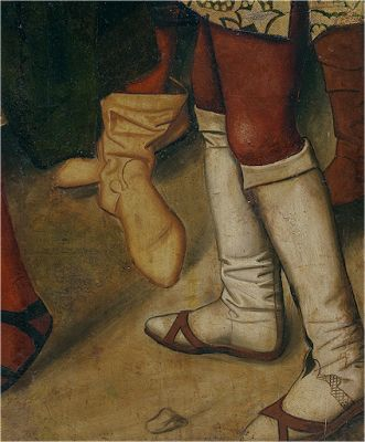 The white stockings are worn below the knee with wooden shoes over. 1400's