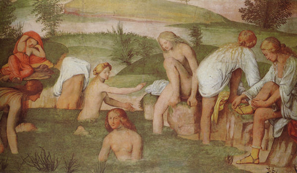 Bathing woman some in shifts, c. 1525