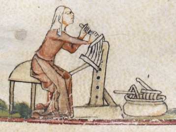 Woman working with wool. She is wearing a cote that is loose from the waist down and fitted above the waist. c 1300 - 1340