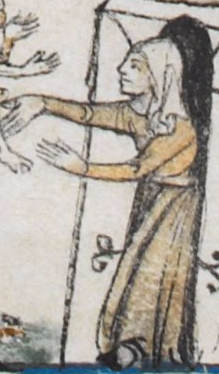 Woman wearing a cote, c 1300 - 1340