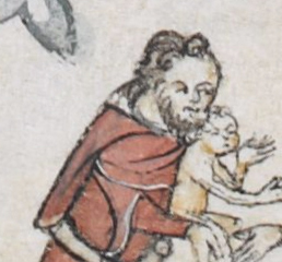 Man carrying a child. He has curly hair and a chin curtain, c. 1300 - 1340