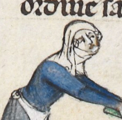 Veils and gorgets. Woman fighting monster with a spinning stick, c 1300-1340