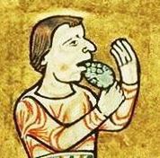 Wine peasant with a bare shortish head, c 1180