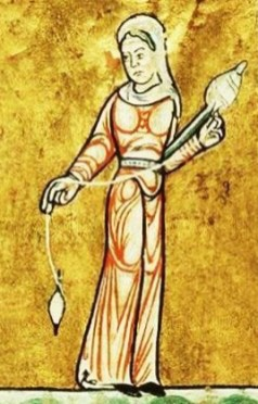 Woman spinning, c 1180