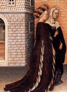 Two ladies wearing houppelandes, 1440