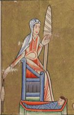 Eve spinning in a long gown/kirtle with straight sleeves and a linen veil, c. 1170.