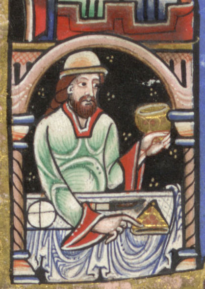 A long haired man with a beard in a green tunic with red details and large sleeve openings. c. 1170