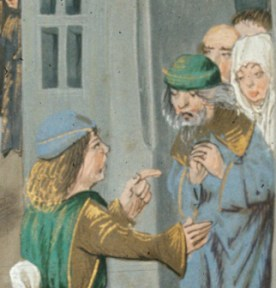 Young man in a bycoket and an elderly man in a hat with a folded brim. 1479