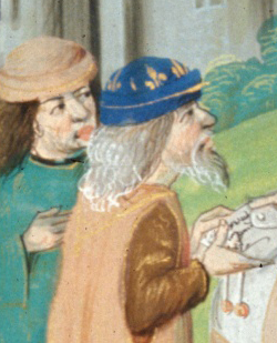 Elderly learned man handing a letter over and a companion. Both wearing soft hats with brims folded up. 1479