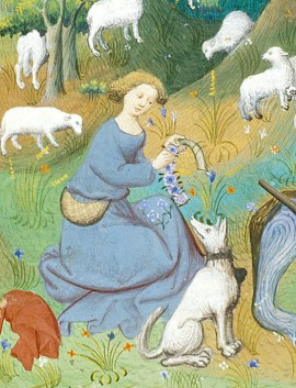 Shepherd wearing a blue cote/kirtle, cut low. She wears her hair up and is weaving a garland for her hair. In her belt she wears a purse. c. 1413