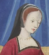 Black veil worn over a cap or a cap with veil(?), c. 1496-1498