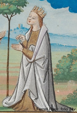 Mantle: loose outer garment or cloak cut in the round, open down the front and fastened either on the shoulder or in front; for men or women
