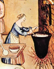 Woman wearing a wide necked cote and an apron while making cheese, 1300's