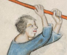 Peasant with a fussy head of hair, c. 1325-1340