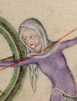 Woman spinning using a spinning whele. She is wearing a simple veil. c. 1325-1340