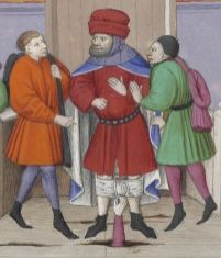 'Three young men pull down the breeches of a judge from the Marches, while he is administering justice on the bench' Flemish, 1400's
