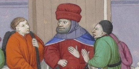 The man with the huge red hat is a judge. He is also waring a hood. Flemish, 1400's