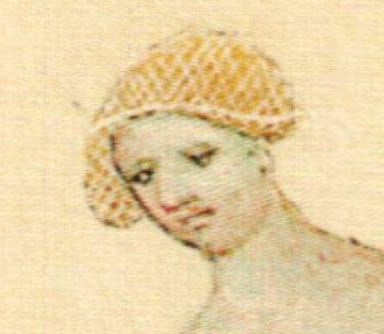 Woman wearing a crespine/hair net - she is in a bathing setting - either an attentens or on her way into a bath. 1390-1400 Bible Venceslas IV