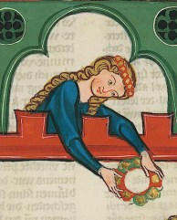 Lady with long hair with a band of circles, c. 1340