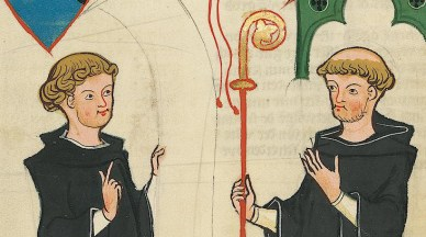 Two church men. Both with short hair and one has the top of his head shaved. c. 1300 - 1340