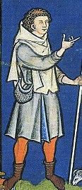 Shepherd wearing a tunic, hose and a short cape/hood. c. 1250