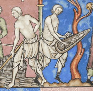 Two farmers in their braies working. Notice their covered heads even as their upper bodies are nude. c. 1250