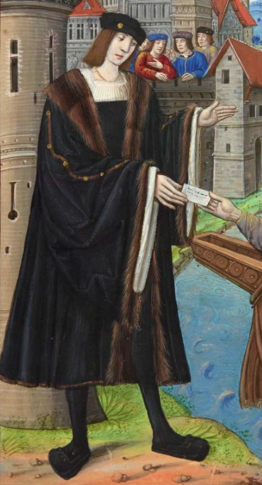 Man in a knee length robe with fur trims. 1490-early 1500's