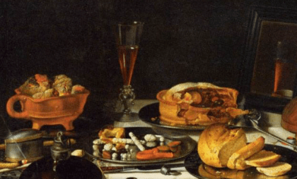 "Section of the painting Still Life With Musical Instruments"" by Pieter Claesz, 1623. It looks like the postej is filled with fruit - among those an orange of some kind."