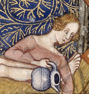 A woman in bed with her hear uncovered but braided and pinned. 1300's
