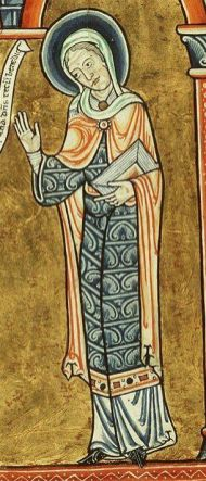 Woman in a cote, over-dress and mantle, c. 1180s