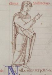 Long haired person wearing a long tunic and a mantle. c. 1150