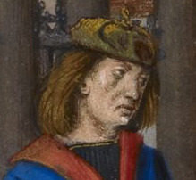 Two ear flaps seem to be tied on the top of the head. c. 1490-1500