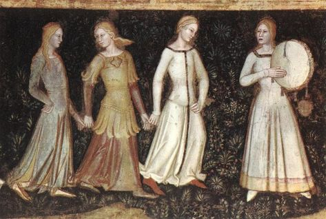 Ladies dancing in different styled surecotes. c. 1343-1377