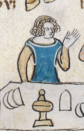 Rounded blue cyclas over a cream cote. c 1300 - 1340