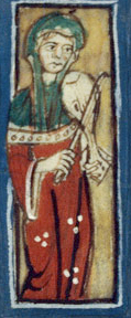 Woman playing a instrument while wearing a cote and overdress as well as a chape.